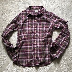 "Converse ""One Star"" purple flannel button up top"